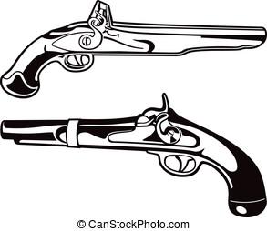 pistolen, schwarz, pulver