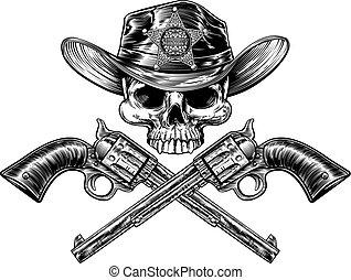 pistolen, ster, schedel, sheriff, cowboy, badge, hoedje