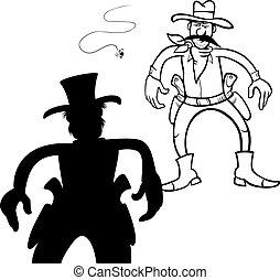 pistoleros, duelo, caricatura, ilustración
