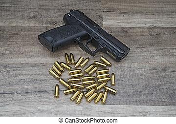pistolet, balles, fusil