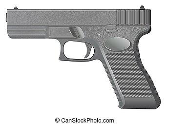 pistolet, blanc, vecteur, isolé, fond