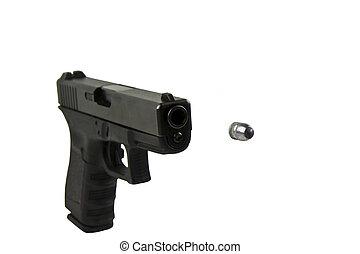 pistolet, noir, balle