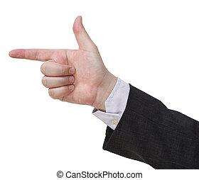 pistolet, signe, -, geste, main