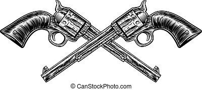 pistolet, traversé, fusils