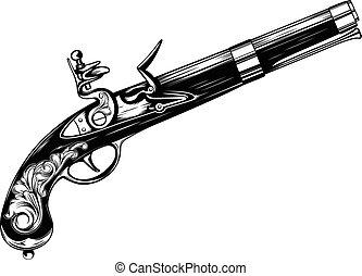 pistolet, vieux, flintlock