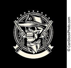 pistolets, crâne, cow-boy