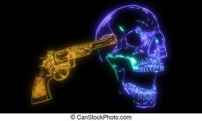 pistolets, suicide, laser, animation, crâne