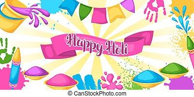 pistolety, blots, holi, barwny, banner., brudzi, wiadra, ilustracja, woda, malować, bandery, szczęśliwy