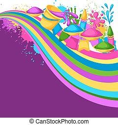 pistolety, blots, holi, barwny, brudzi, wiadra, ilustracja, woda, tło., malować, bandery, szczęśliwy
