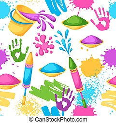 pistolety, blots, holi, barwny, brudzi, wiadra, pattern., seamless, ilustracja, woda, malować, bandery, szczęśliwy
