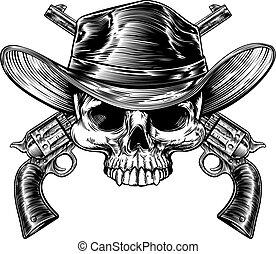 pistolety, czaszka, kowboj
