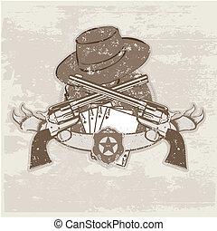 pistolety, kapelusz, dwa