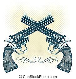 pistolety, ręka