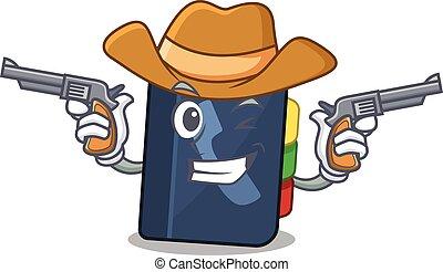 pistolety, telefon, ubrany, kowboj, książka, posiadanie