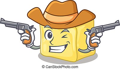 pistolety, ubrany, kowboj, posiadanie, śmietankowy, masło