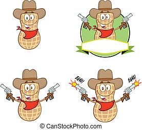 pistolety, zbiór, orzech ziemny, kowboj