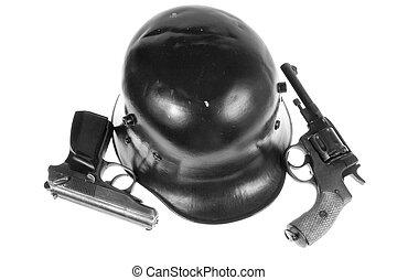 pistols and helmet