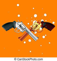 Pistols - Vector illustration of two duel pistols