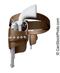 Pistols In A Leather Holster Side