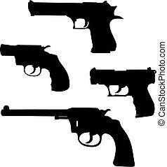 Pistols - Vector illustration of pistols silhouettes (High ...