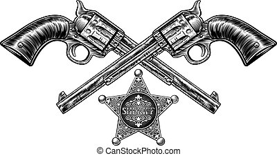 Pistols with Sheriff Star Badge - A pair of crossed pistol...