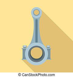 Piston connecting rod shaft icon, flat style - Piston...