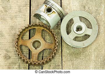 piston, gear, pulley