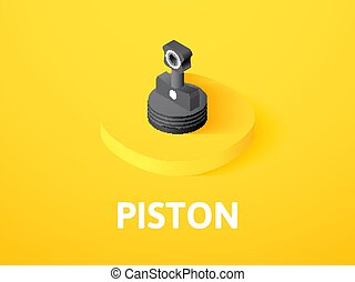 Piston isometric icon, isolated on color background