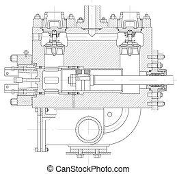 piston, pompe, partie, hydraulique