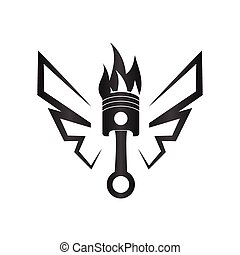 Piston with abstract wing automotive logo design template vector