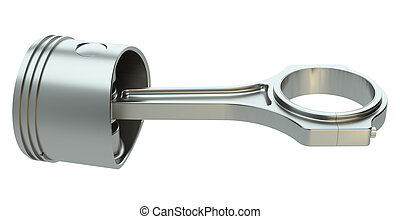 Piston with connecting rod, isolated on white background. 3d...