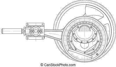 pistong, pump, färd, mekanism