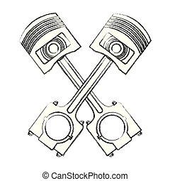 pistons crossed engine pieces