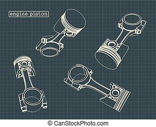 pistons, moteur, interne, combustion