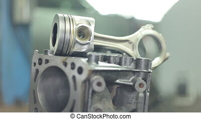 Pistons of the engine with connecting rods. Spare parts for diesel engine