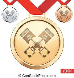 pistons, symbole, médaille, intérieur, or