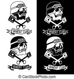pistons, thème, crânes, motard, étiquette