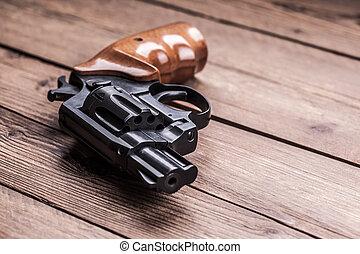 pistool, op, een, hout, achtergrond