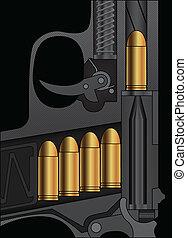 pistool, tekening, bankstel