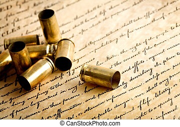 pistoolkogel, omhulsels, op, rekening van rechten