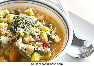 Pistou Soup - Soupe au pistou, French vegetable soup with...