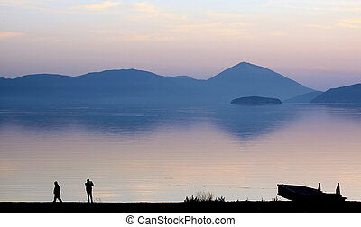 picturing lake prespa in macedonia on sunset - pisture of a ...