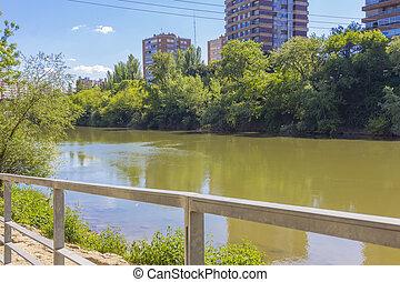 Pisuerga riverbank in the city of Valladolid, Spain