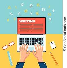 pisząc na maszynie, ręka, laptop