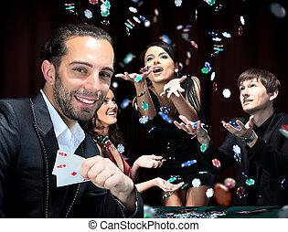 piszkavas, játékosok, ülés, mindenfelé, egy, asztal, -ban,...