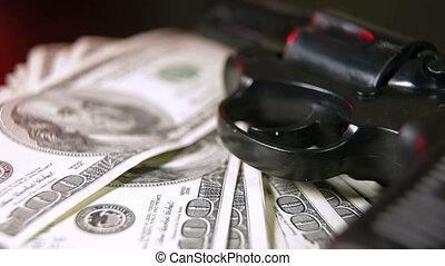 pisztoly, és, készpénz