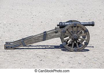 pisztoly, ősi, fortress., löveg, tüzérség, closeup,...