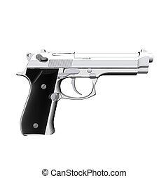 pisztoly, closeup, elszigetelt, fehér