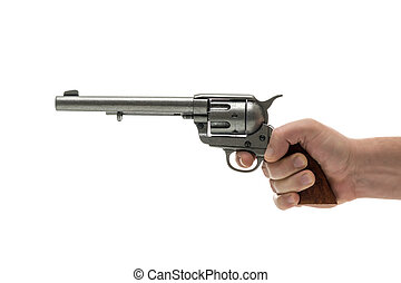 pisztoly, kéz, férfiak, forgópisztoly
