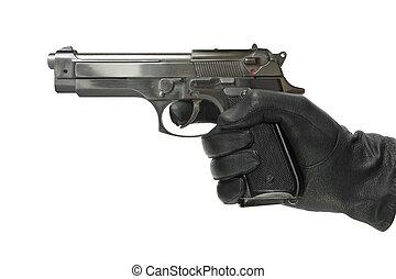 pisztoly, kesztyű, kéz